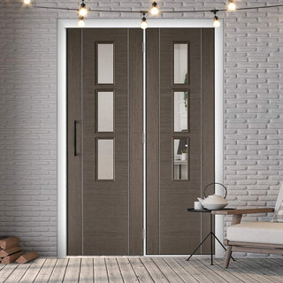 Image: ThruEasi Room Divider - Alcaraz Chocolate Grey Clear Glass Prefinished Door with Single Side - 2018mm High - Multiple Widths