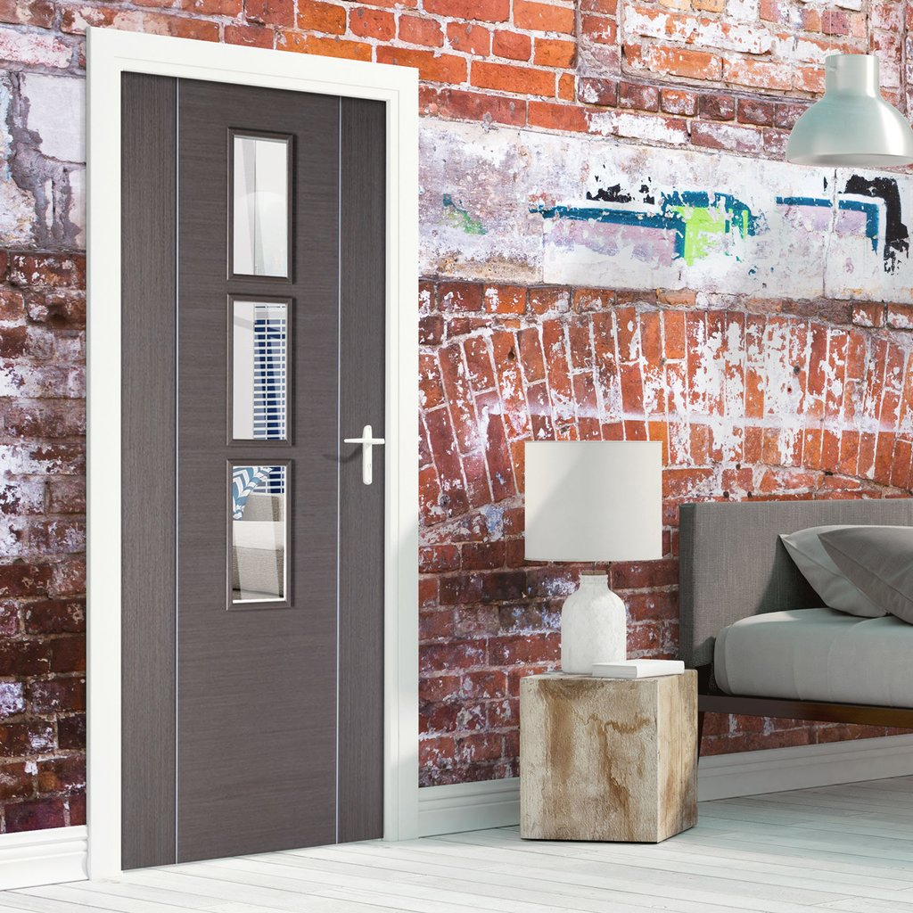 Bespoke Chocolate Grey Alcaraz Door - Clear Glass - Prefinished