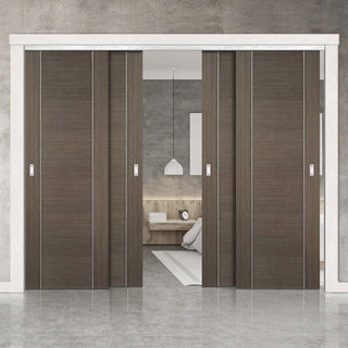 Image: Bespoke Thruslide Chocolate Grey Alcaraz Door - 4 Sliding Doors and Frame Kit - Prefinished