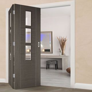 Image: Two Folding Doors & Frame Kit - Alcaraz Chocolate Grey 2+0 - Clear Glass - Prefinished