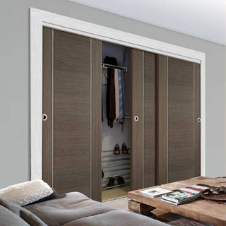 Image: Bespoke Chocolate Grey Alcaraz Door - 3 Door Wardrobe and Frame Kit - Prefinished