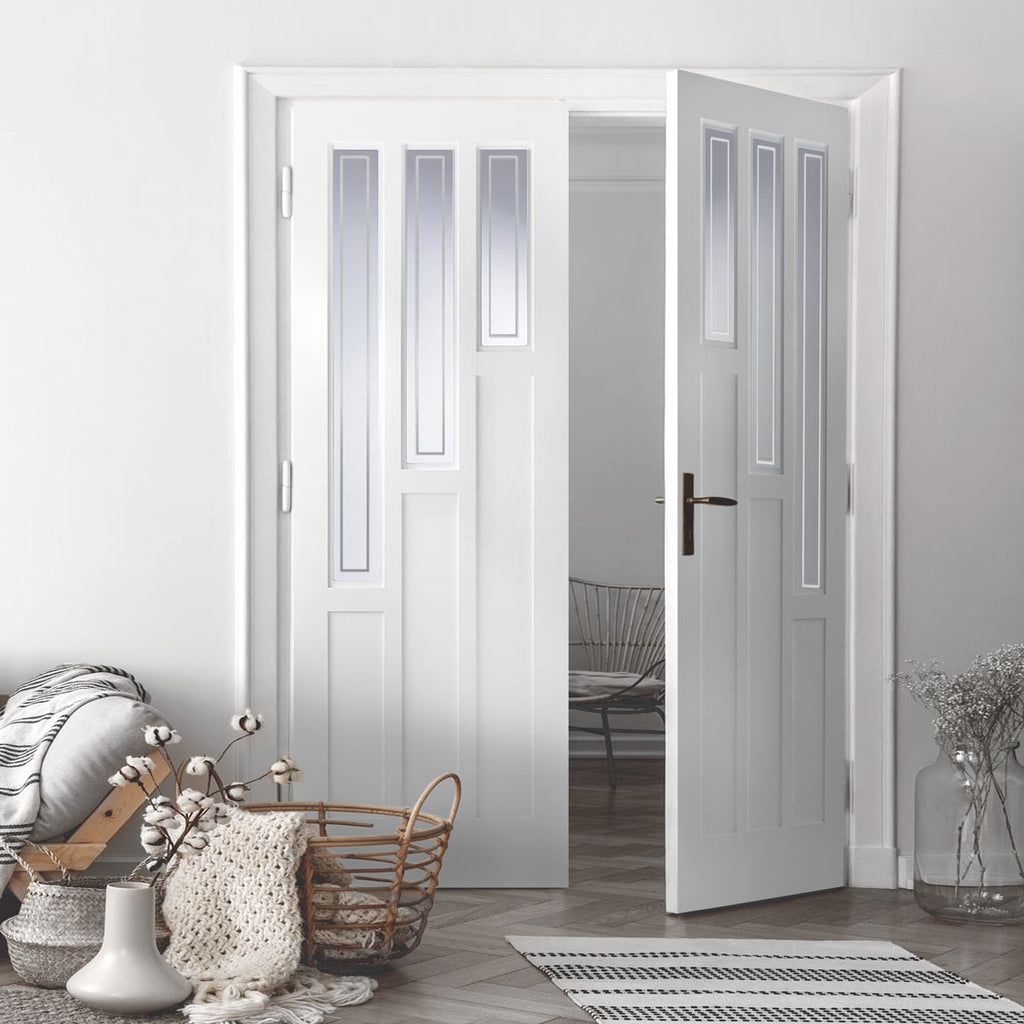 Alexander Lightly Grained PVC Door Pair - Sandblasted Glass with Clear Border