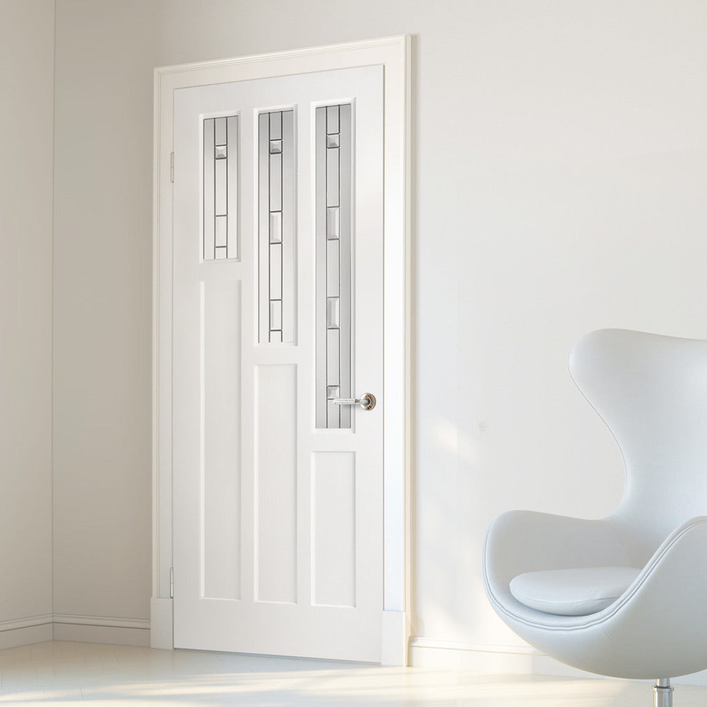 Alexander Lightly Grained PVC Door - Tay Style Sandblasted Glass