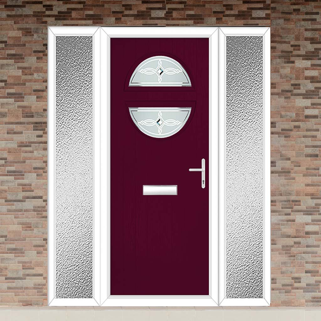 Cottage Style Alfetta 2 Composite Door Set with Double Side Screen - Pusan Glass - Shown in Purple Violet