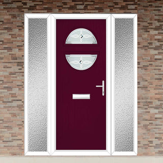 Image: Cottage Style Alfetta 2 Composite Door Set with Double Side Screen - Pusan Glass - Shown in Purple Violet