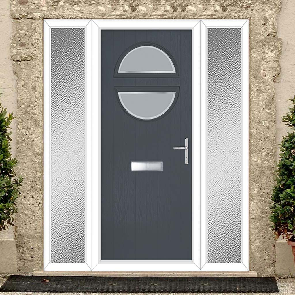 Cottage Style Alfetta 2 Composite Door Set with Double Side Screen - Ice Edge Glass - Shown in Slate Grey