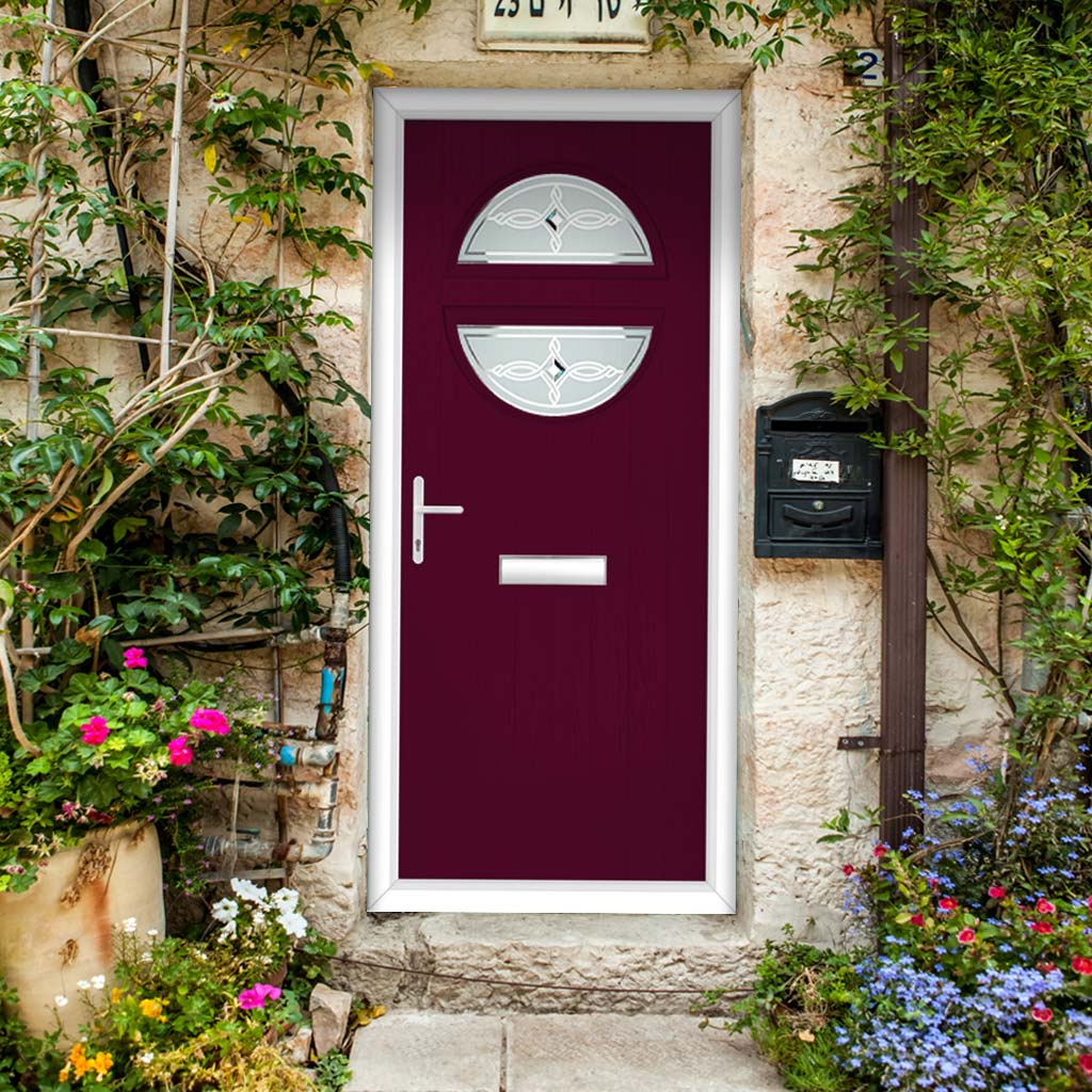 Cottage Style Alfetta 2 Composite Door Set with Pusan Glass - Shown in Purple Violet