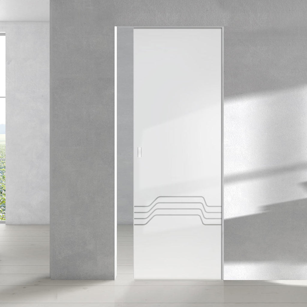 Allanton 8mm Obscure Glass - Clear Printed Design - Single Absolute Pocket Door