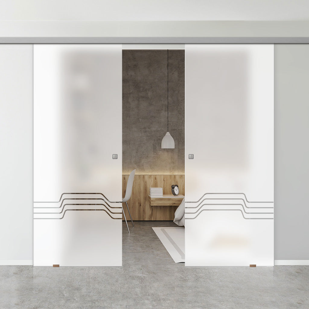 Double Glass Sliding Door - Allanton 8mm Obscure Glass - Clear Printed Design - Planeo 60 Pro Kit