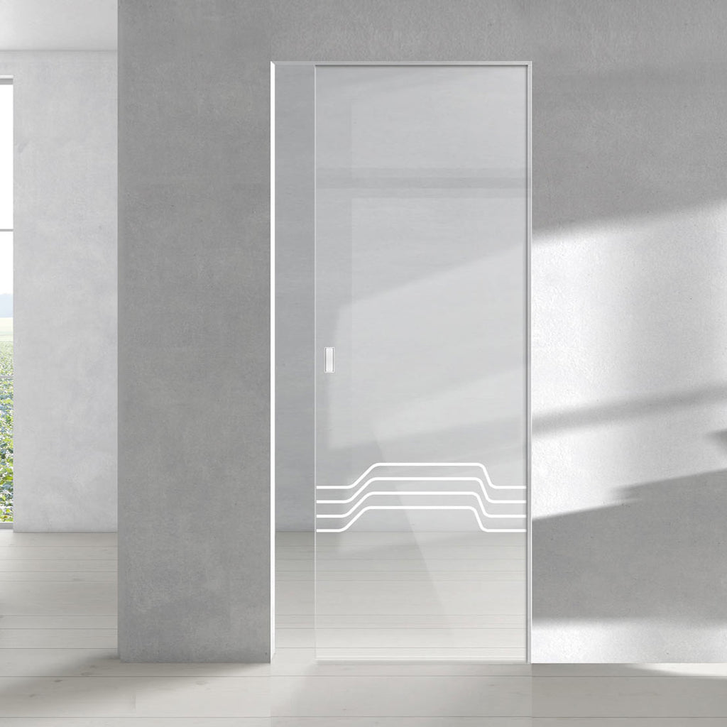 Allanton 8mm Clear Glass - Obscure Printed Design - Single Absolute Pocket Door