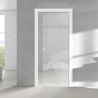 Image: Allanton 8mm Clear Glass - Obscure Printed Design - Single Evokit Glass Pocket Door