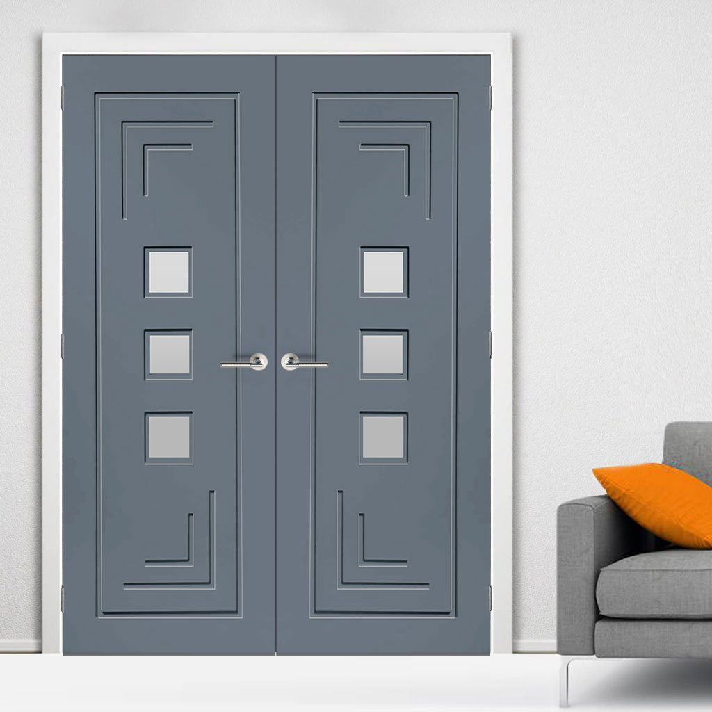 Prefinished Altino Door Pair - Clear Glass - Choose Your Colour