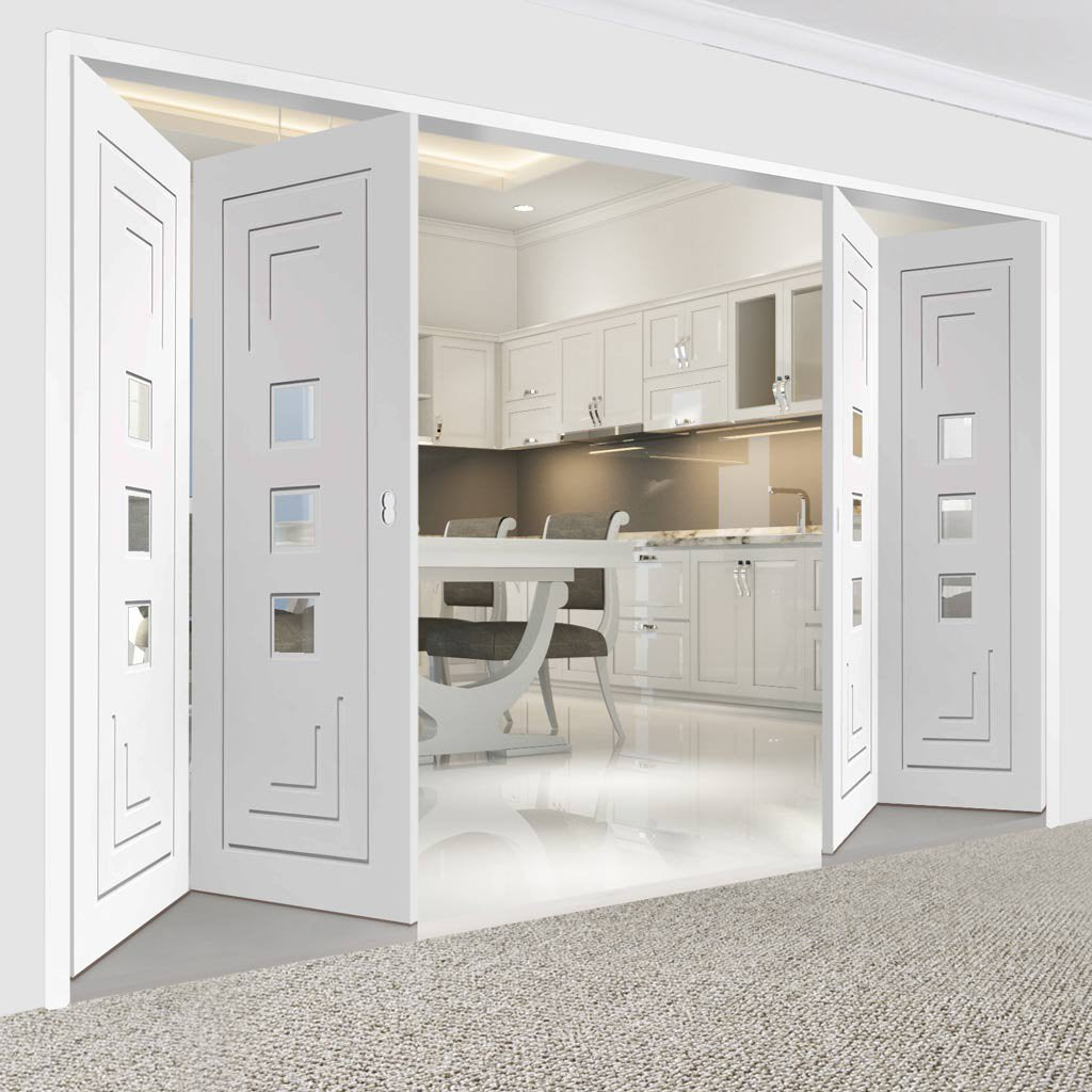 Bespoke Thrufold Altino White Primed Glazed Folding 2+2 Door