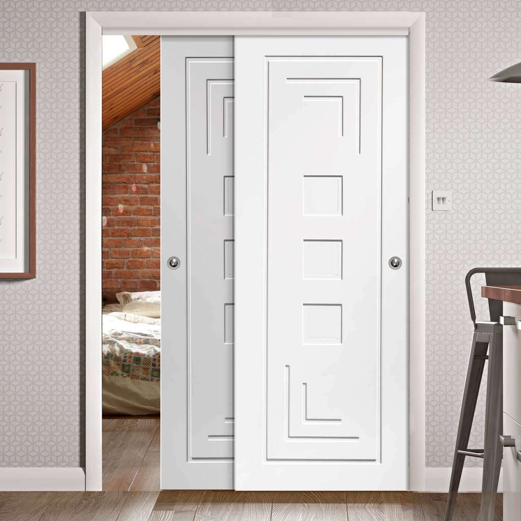 Two Sliding Doors and Frame Kit - Altino Flush Door - White Primed