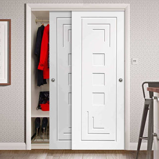 Image: Thruslide Altino Flush Panel 2 Door Wardrobe and Frame Kit - White Primed
