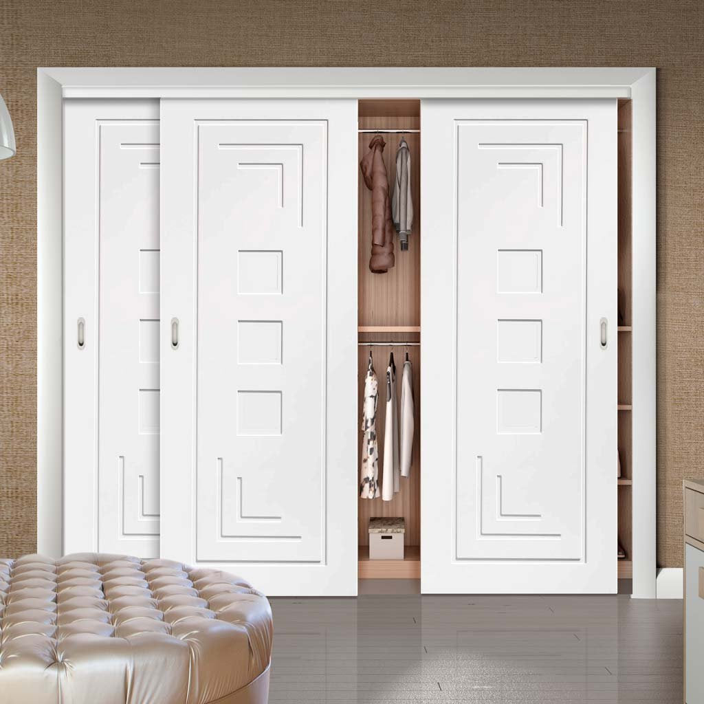 Bespoke Thruslide Altino Flush 3 Door Wardrobe and Frame Kit - White Primed