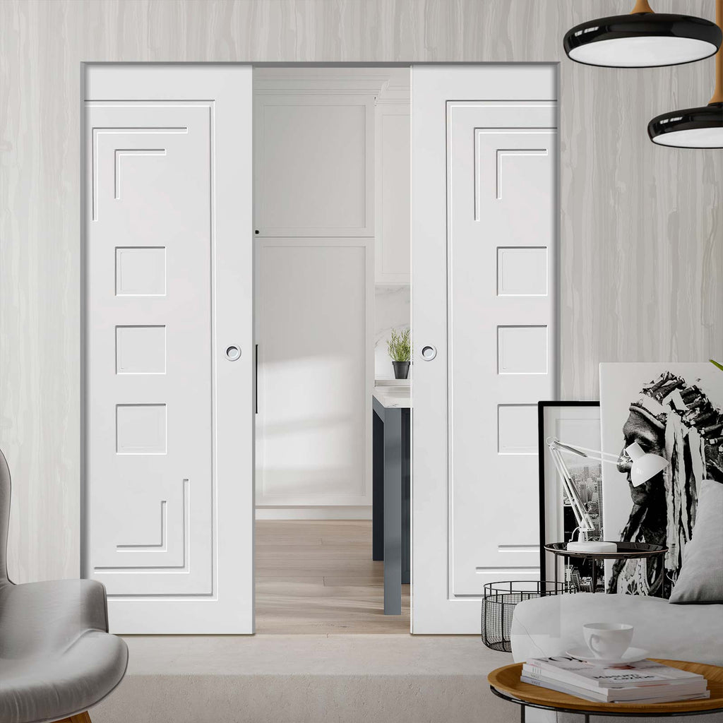 Altino Flush Absolute Evokit Double Pocket Door - Primed