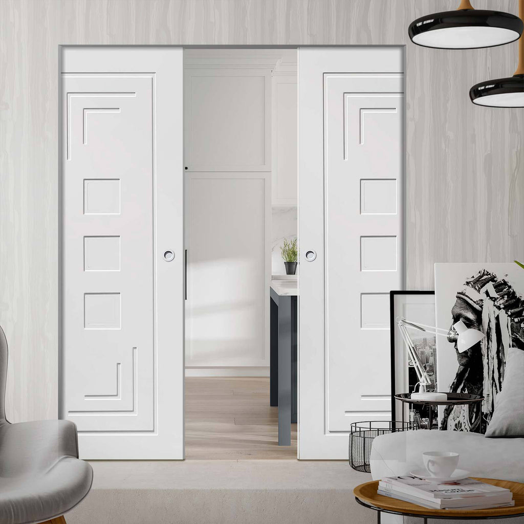 Bespoke Altino Flush Double Frameless Pocket Door - White Primed