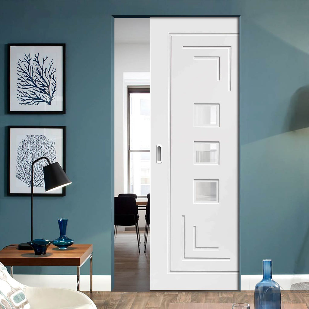 Bespoke Altino White Primed Glazed Single Frameless Pocket Door