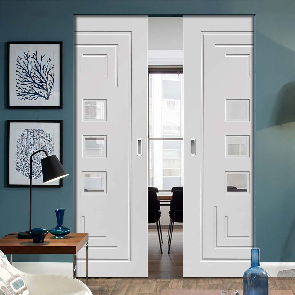 Altino Absolute Evokit Double Pocket Door - Clear Glass - Primed