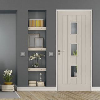 Image: Prefinished Light Grey Colour Ely Door - Clear Glass