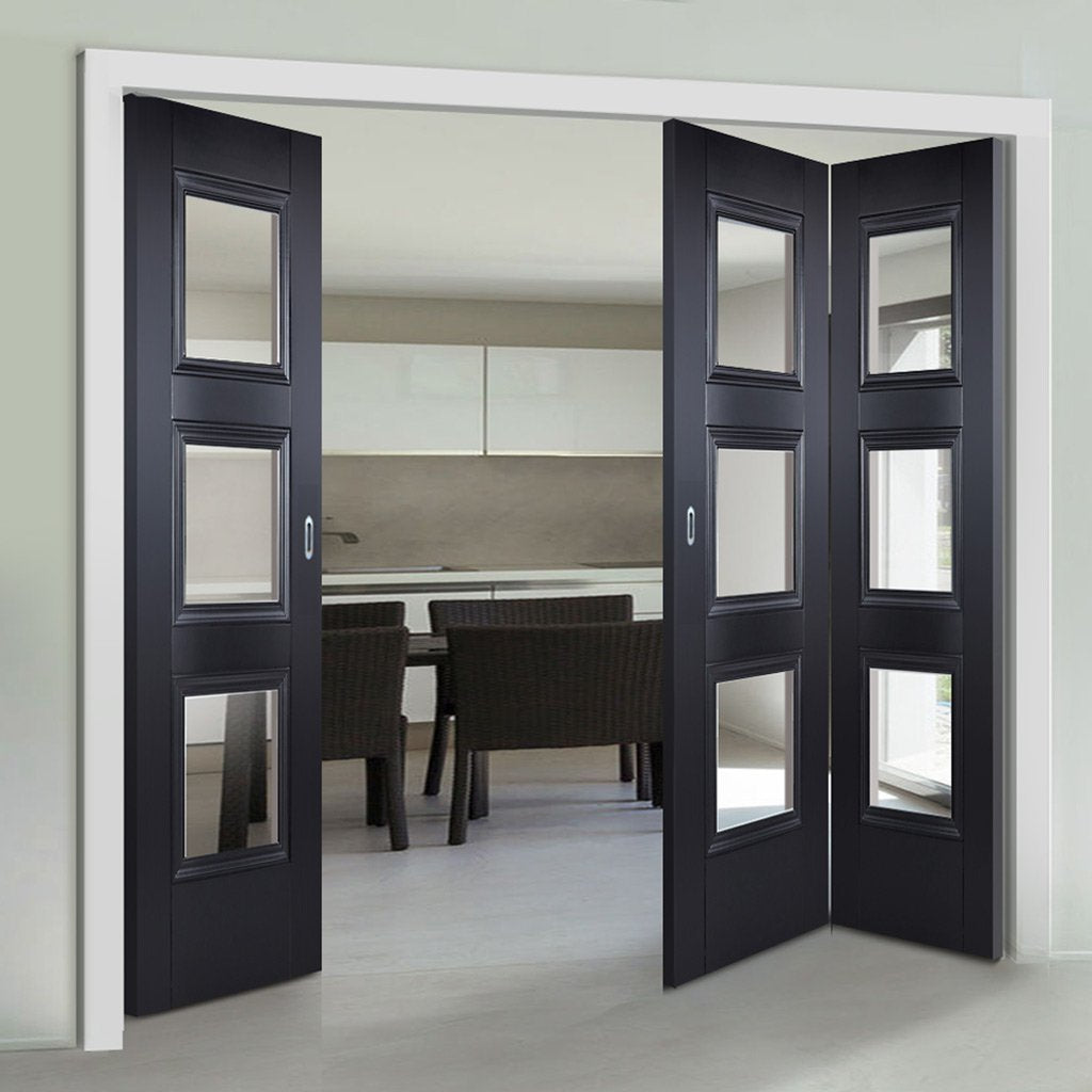 Three Folding Doors & Frame Kit - Amsterdam Black Primed 2+1 - Clear Glass - Unfinished