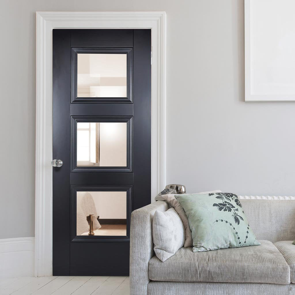 Amsterdam Black Primed Internal Door with Clear Safety Glass