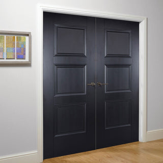 Image: Amsterdam 3 Panel Black Primed Door Pair