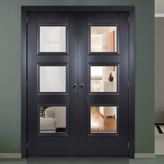 Image: Amsterdam Black Primed Internal Door Pair with Clear Safety Glass