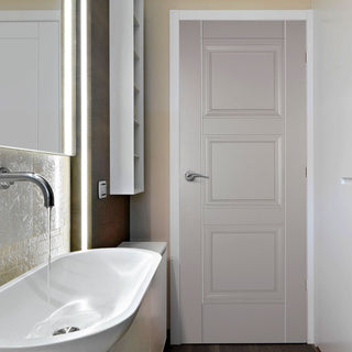 Image: Amsterdam 3 Panel Grey Primed Fire Door - 1/2 Hour Fire Rated
