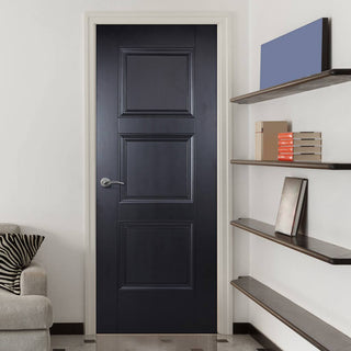 Image: Amsterdam 3 Panel Black Primed Fire Door - 1/2 Hour Fire Rated