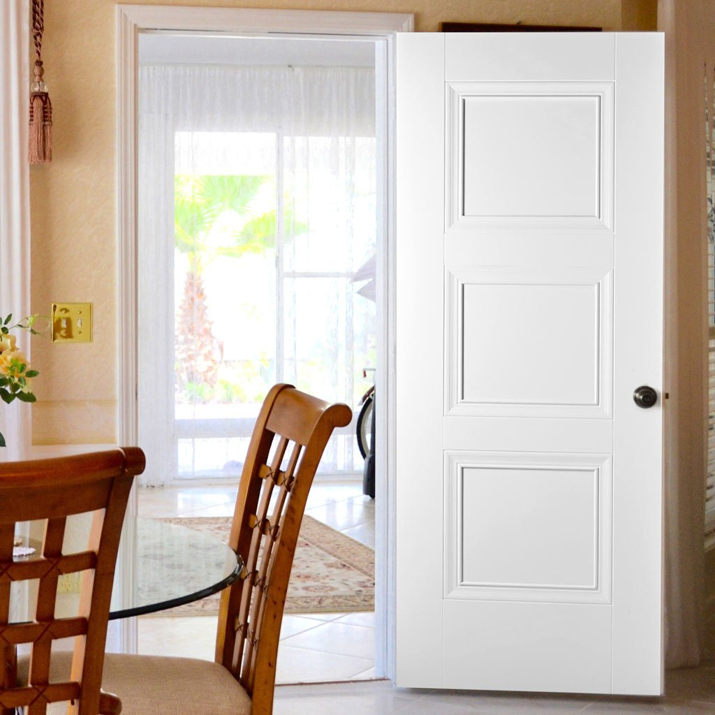 White Fire Door, Amsterdam 3 Panel Door - 1/2 Hour Rated - White Primed