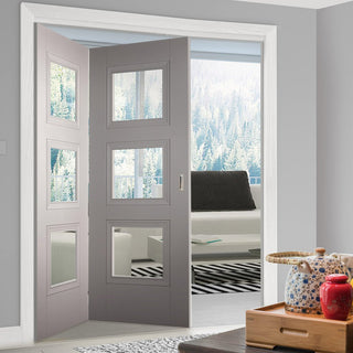 Image: Two Folding Doors & Frame Kit - Amsterdam Grey Primed 2+0 - Clear Glass - Unfinished