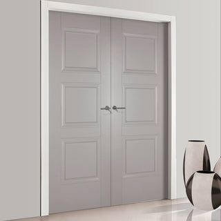 Image: Amsterdam 3 Panel Grey Primed Fire Door Pair - 1/2 Hour Fire Rated