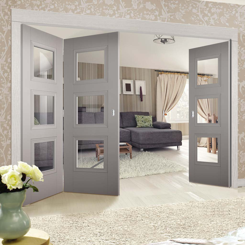 Three Folding Doors & Frame Kit - Amsterdam Grey Primed 2+1 - Clear Glass - Unfinished