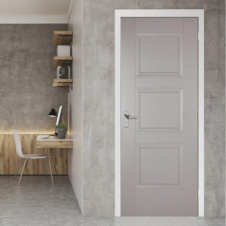 Image: Amsterdam 3 Panel Grey Primed Door