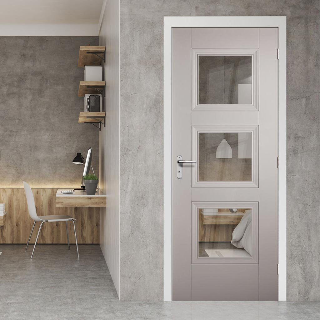 Amsterdam 3 Pane Grey Primed Door - Clear Glass
