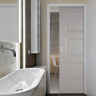 Image: Amsterdam 3 Panel Grey Primed Single Evokit Pocket Door