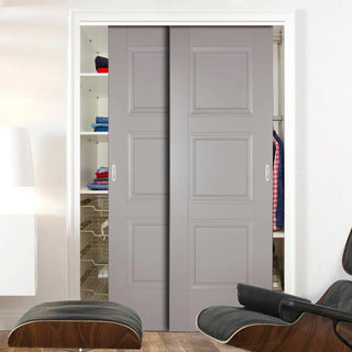 Image: Two Sliding Wardrobe Doors & Frame Kit - Amsterdam 3 Panel Grey Primed Door - Unfinished