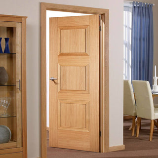 Image: Fire Door, Amsterdam 3 Panel Oak - 1/2 Hour Fire Rated - Prefinished