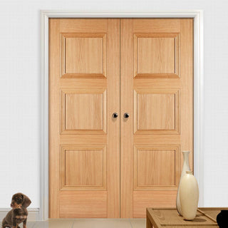 Image: Amsterdam 3 Panel Oak Door Pair - 1/2 Hour Fire Rated - Prefinished