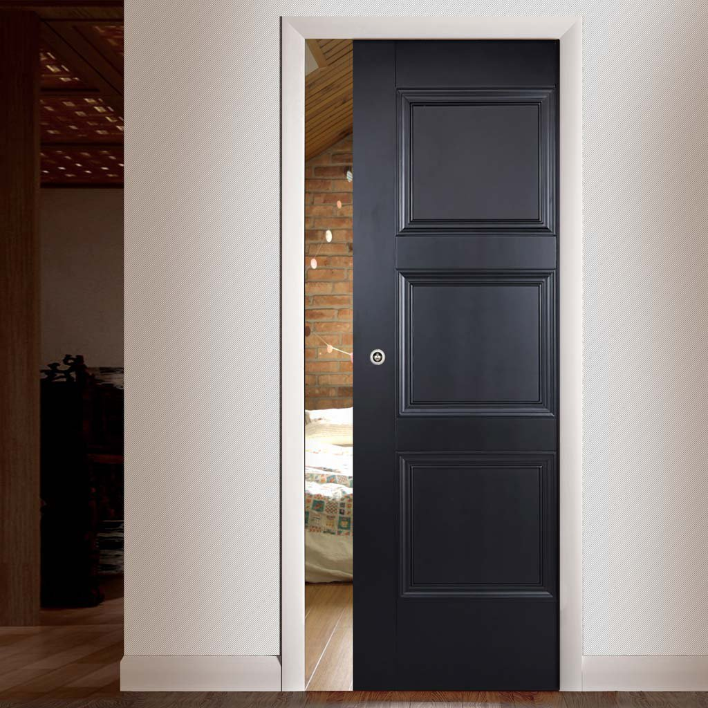 Amsterdam 3 Panel Black Primed Single Evokit Pocket Door