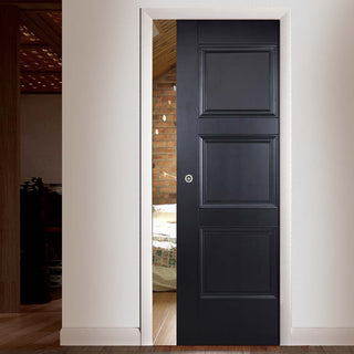 Image: Amsterdam 3 Panel Black Primed Single Evokit Pocket Door