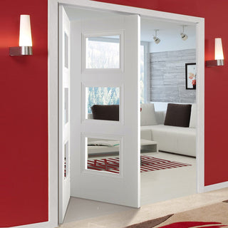 Image: Two Folding Doors & Frame Kit - Amsterdam 3 Panel 2+0 - Clear Glass - White Primed