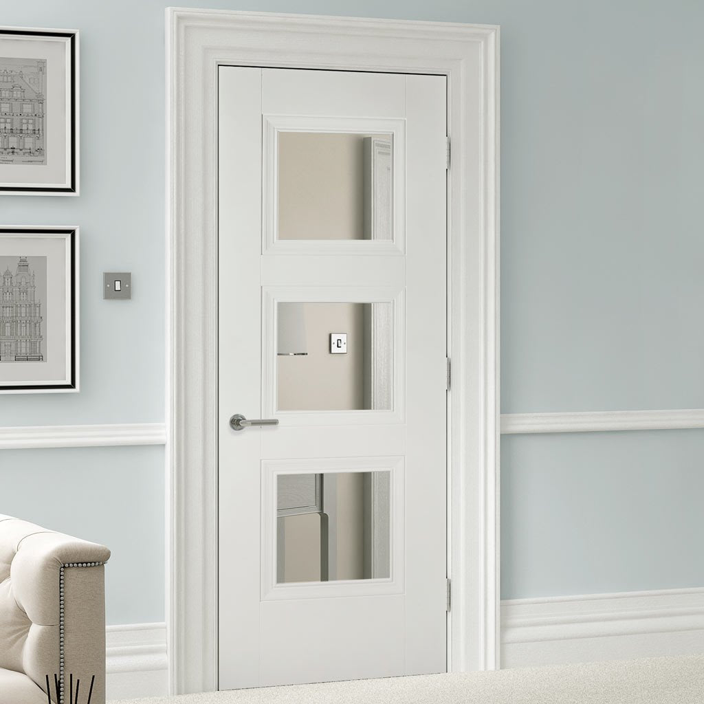 Amsterdam 3 Pane Door - Clear Glass - White Primed