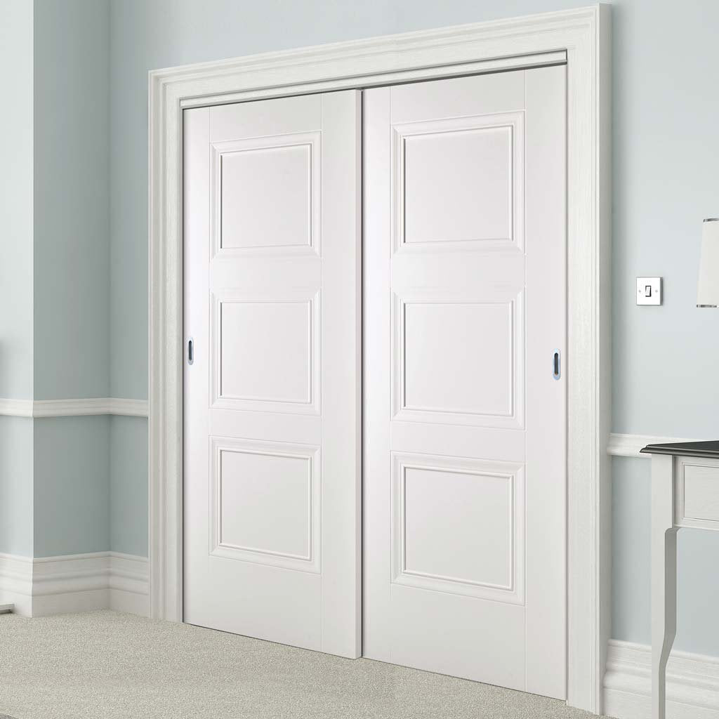 Two Sliding Doors and Frame Kit - Amsterdam 3 Panel Door - White Primed