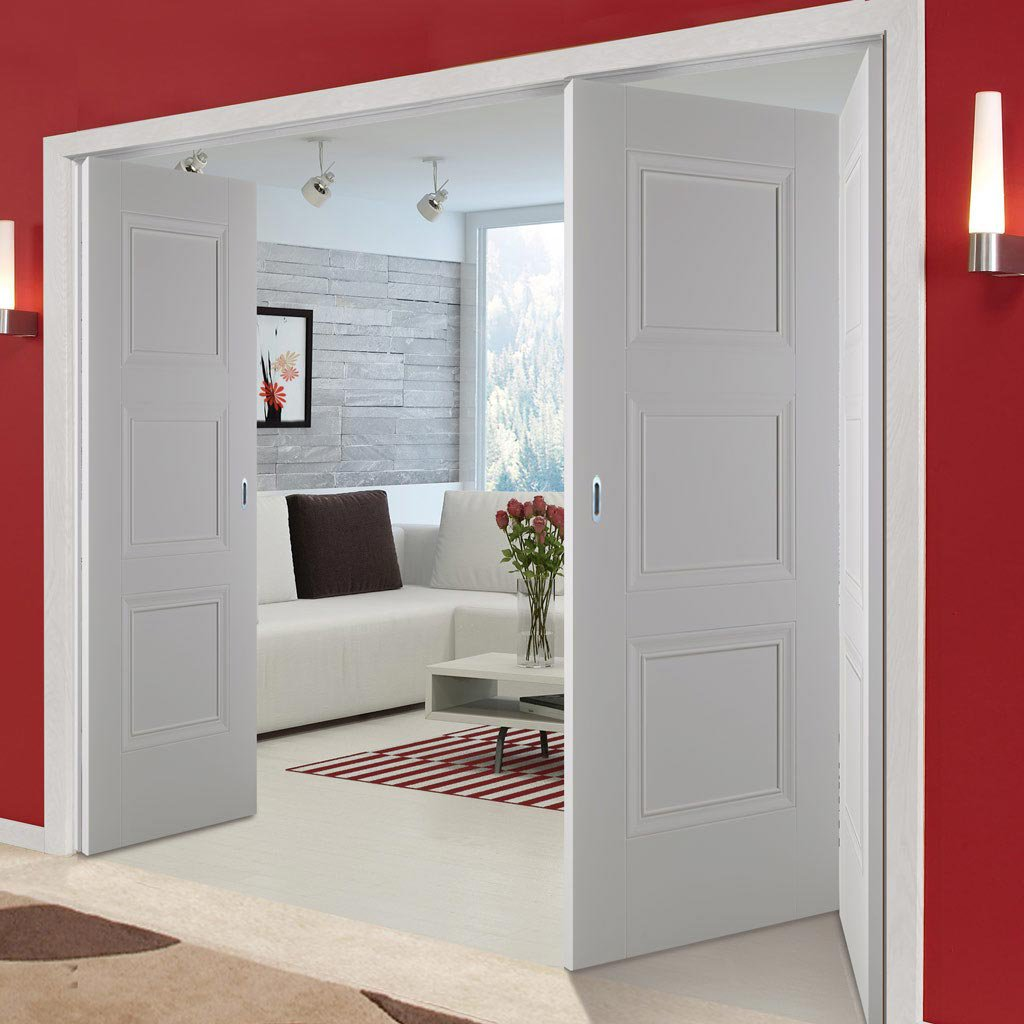 Three Folding Doors & Frame Kit - Amsterdam 3 Panel 2+1 - White Primed