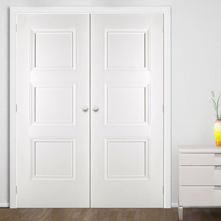Image: LPD Joinery Amsterdam 3 Panel Fire Door Pair - 1/2 Hour Fire Rated - White Primed