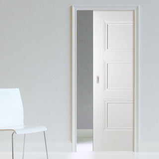 Image: Amsterdam 3 Panel Single Evokit Pocket Door - White Primed