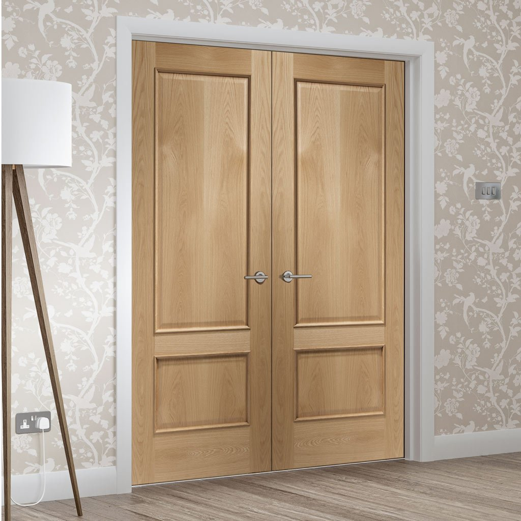 Andria Oak 2 Panel Door Pair - Raised Mouldings